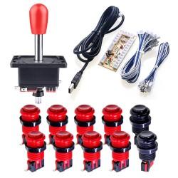 KIT arcade 1P modelo americano - 1 Joystick + 1 Placa Zero Delay + 10 botones estilo americano + Cables / Envíos a todo el Perú