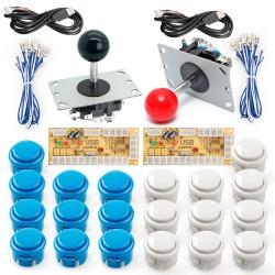 KIT arcade 2P modelo Sanwa: 2 Joysticks Arcade + 2 Placas Zero Delay + 20 botones + Cables conectores / Envíos a todo el Perú