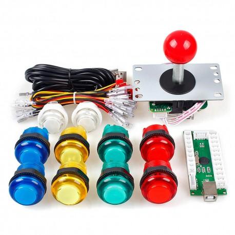 KIT Led arcade 1P modelo Sanwa - 1 Joystick Arcade + Placa LED Zero Delay + 10 botones LED + Cables / Envíos a todo el Perú